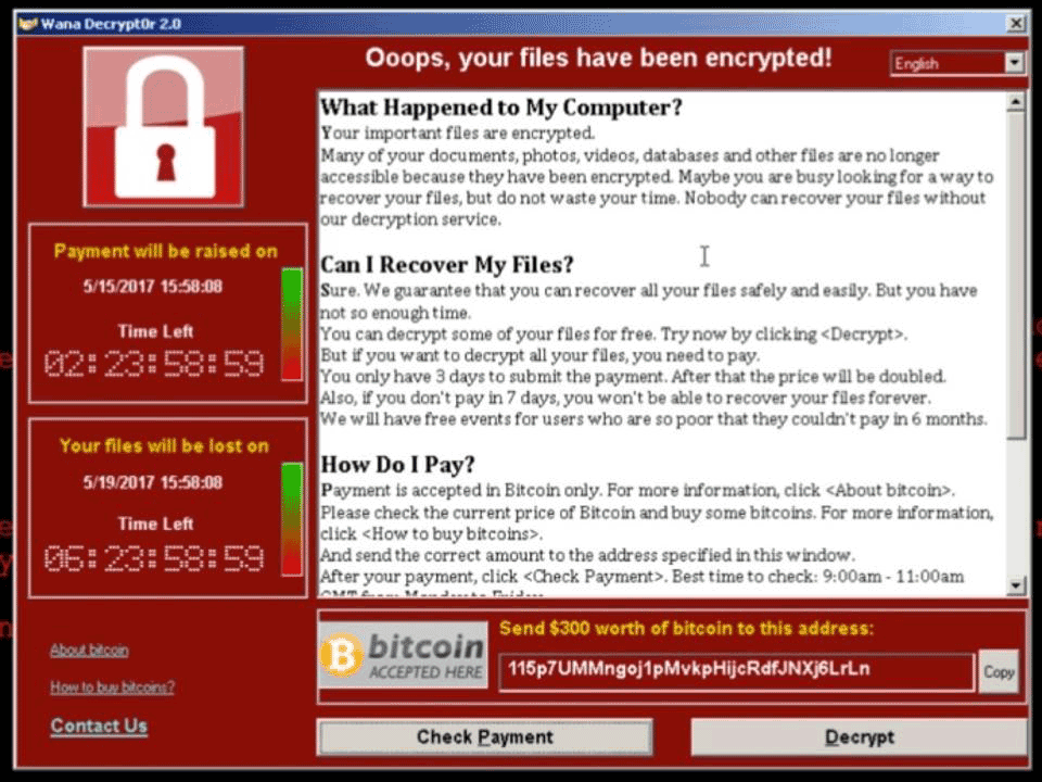 WannaCry Ransomware Lock Screen