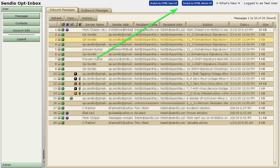 Sendio 9 Classic UI Admin Link