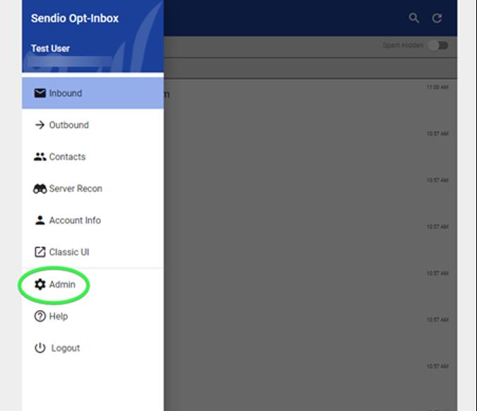 Sendio 9 User UI Admin Link